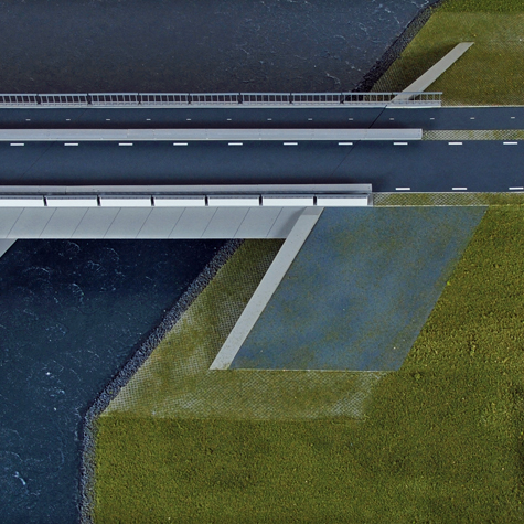 Maquette_landschap_Noordwaard_met_bruggen